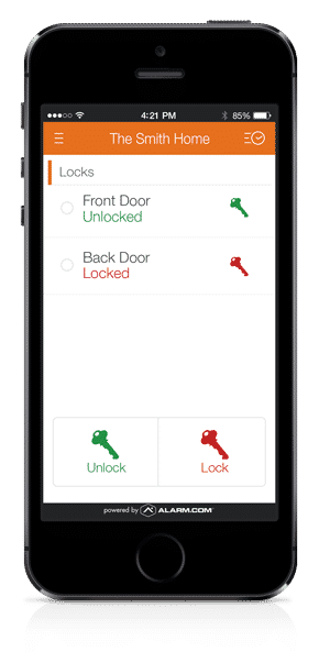 A picture of the mobile interface for locks.