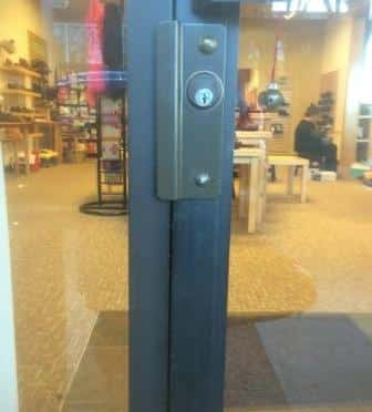 Aluminum Storefront Door Security Reinforcement to Prevent Break-ins